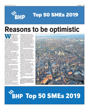 Top 50 SMEs 2019 in association with BHP Chartered Accountants